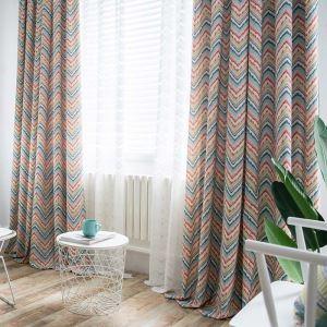 Rideau tamisant imprimé écologique flot coloré pour chambre à coucher