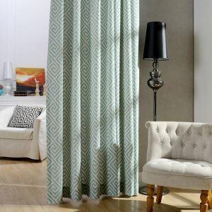 Rideau tamisant imprimé en coton polyester labyrinthe vert pour chambre à coucher simple