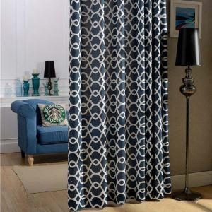 Rideau tamisant brodé en coton lin motif géométrique bleu foncé pour chambre à coucher simple