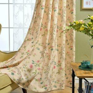 Rideau tamisant imprimé en polyester-lin écologique guirlande pour chambre à coucher pastorale américaine