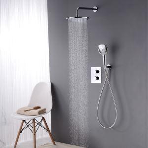 Colonne de douche encastrée thermostatique avec douchette D 22 cm chrome pour salle de bains