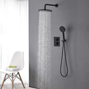 Colonne de douche encastrée avec douchette thermostatique D 22 cm peinture noir pour salle de bains