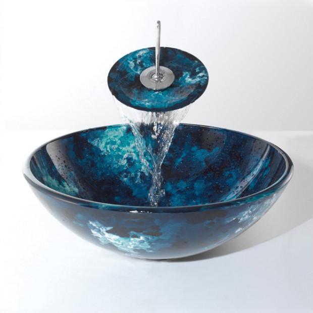 Vasque A Poser Verre Bleu D 42 Cm Avec Robinet Cascade Pour Salle De