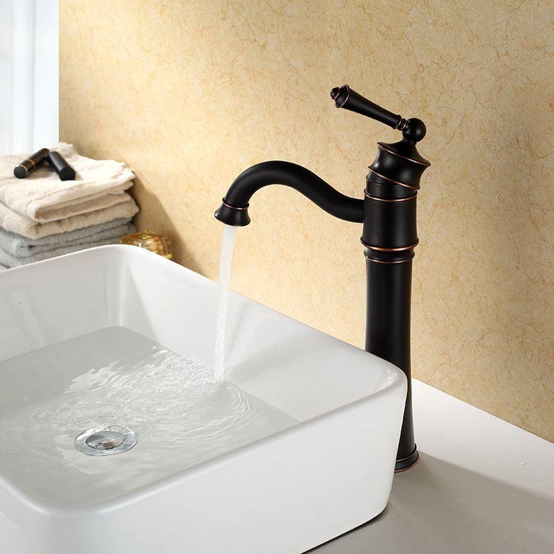 robinet de lavabo en cuivre 34 5 cm eau froide noir peinture pour salle de bains. Black Bedroom Furniture Sets. Home Design Ideas