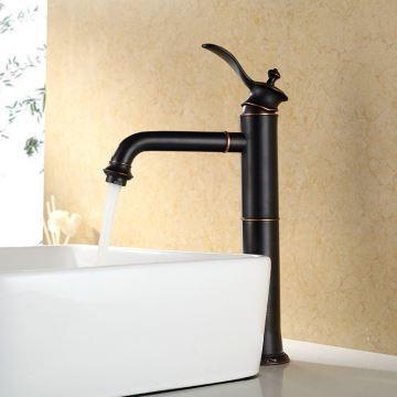 robinet de lavabo en cuivre h 35 cm peinture noir pour salle de bains. Black Bedroom Furniture Sets. Home Design Ideas