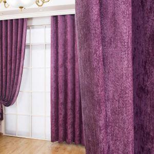 Rideau tamisant en chenille violet anti-UV pour chambre rétro américain