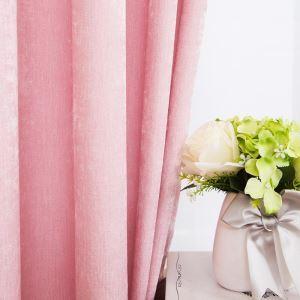 Rideau tamisant en chenille rose pour chambre à coucher pastoral