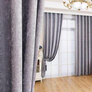 Rideau occultant en chenille gris pour chambre à coucher simple moderne