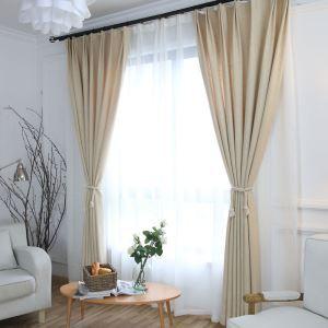 Rideau tamisant en coton lin beige pour chambre à coucher simple japonais