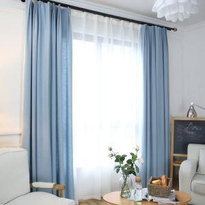 Rideau occultant en coton lin bleu pour chambre à coucher simple moderne