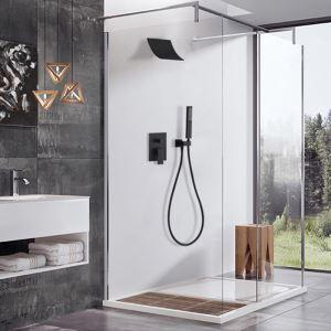 Robinet de douche noir avec pommeau montage mural peinture de cuisson pour salle de bain