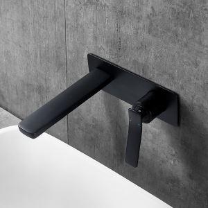 Robinet de lavabo noir peinture de cuisson montage mural eau froide chaud pour salle de bain
