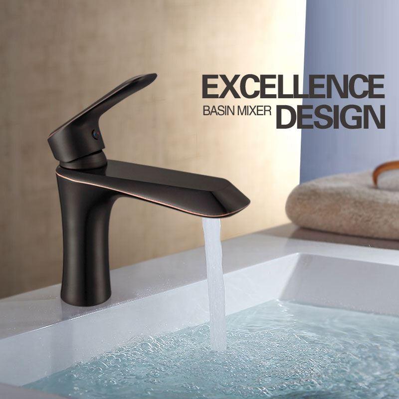 robinet de lavabo noir peinture de cuisson eau froide chaud pour salle de bain. Black Bedroom Furniture Sets. Home Design Ideas