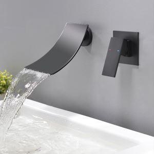 Robinet de baignoire noir peinture de cuisson eau froide chaud pour salle de bain