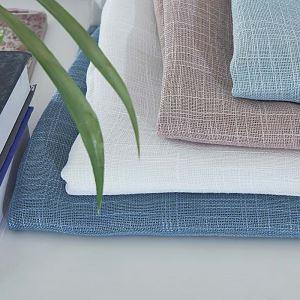 Voilage en coton lin couleur unie écologique pour chambre à coucher salon