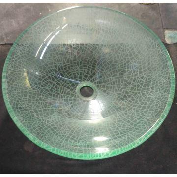 Vasque à poser verre trempé rond avec robinet pour salle de bains
