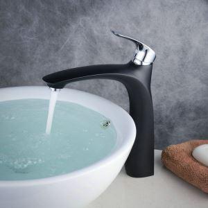Robinet de lavabo laiton H30cm poignée chromé peinture de cuisson noir pour salle de bain
