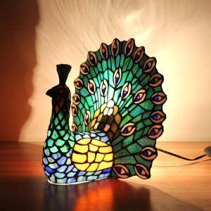 Lampe à poser tiffany en verre D31cm paon vert pour salon chambre