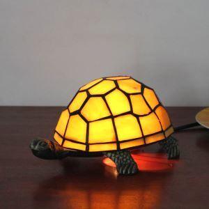 Lampe à poser tiffany en verre D22cm tortue blanc pour salon chambre