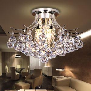 Plafonnier cristal à 3 lampes D 38 cm pour salle pas cher