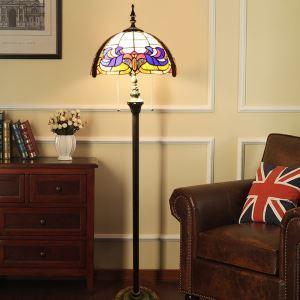 Lampadaire tiffany en verre H 165 cm coloré fait à la main design pour salle