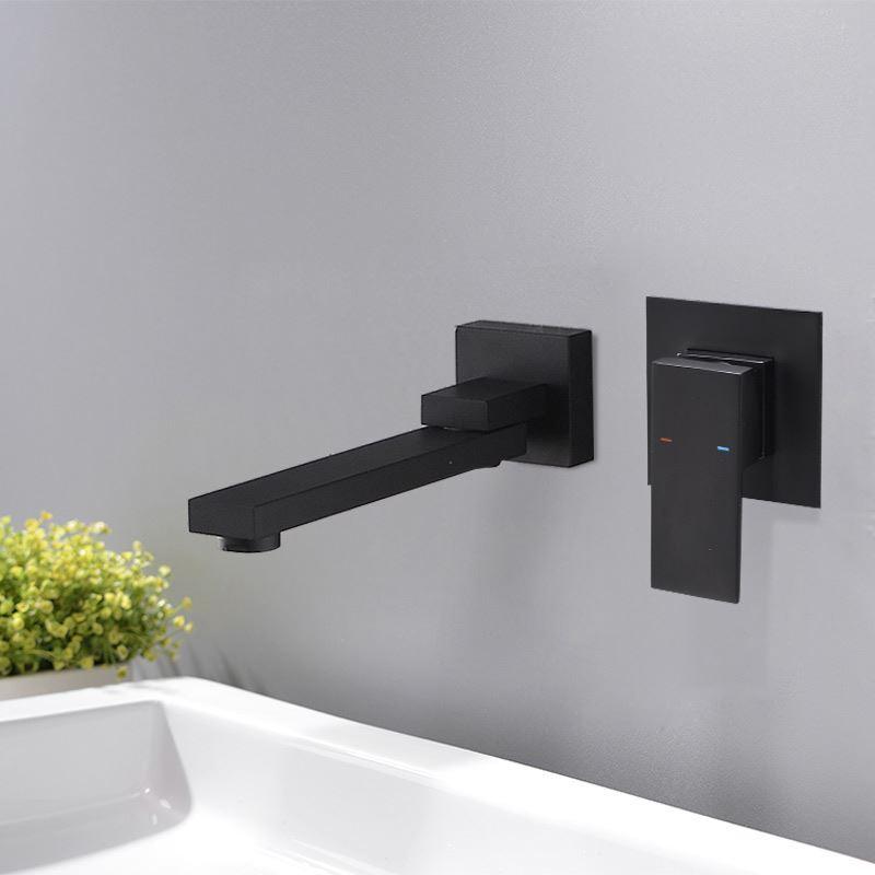 robinet de lavabo noir montage mural peinture de cuisson eau froide chaud pour salle de bain. Black Bedroom Furniture Sets. Home Design Ideas