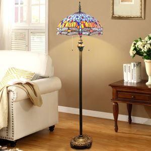 Lampadaire tiffany H 165 cm coloré en verre design pour salle