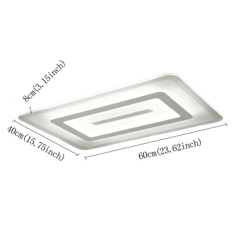 plafonnier led l 60cm acrylique rectangulaire pour salon salle. Black Bedroom Furniture Sets. Home Design Ideas