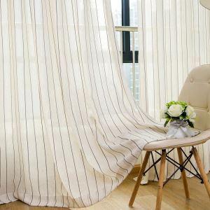 Voilage jacquard en lin rayure pour chambre à coucher simple