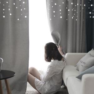 Rideau occultant étoile creuse couleur unie pour chambre à coucher moderne