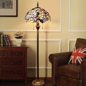 Lampadaire tiffany en verre H 165 cm couleur fait à la main pour salle salon