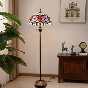 Lampadaire  tiffany en verre H 165 cm fleurs fait à la main pour salle salon