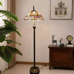 Lampadaire tiffany H 165 cm coloré en verre résine design pour salle