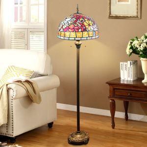 Lampadaire tiffany à 2 lumières H 165 cm libellule en verre design pour salle