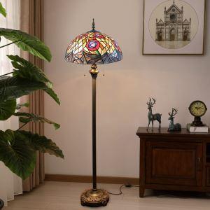 Lampadaire tiffany H 165 cm coloré en verre design pour salle salon