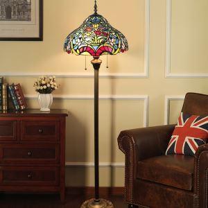 Lampadaire tiffany H 165 cm coloré en verre design rétro pour salle