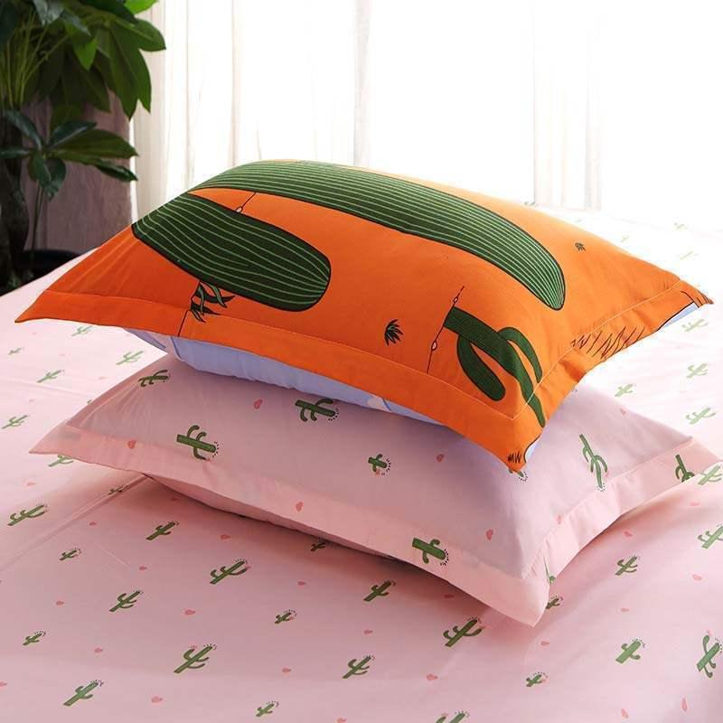 housse de couette 200 230cm 1 drap 2 taies d 39 oreiller cactus orange. Black Bedroom Furniture Sets. Home Design Ideas