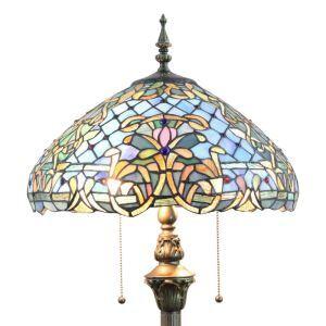 Lampadaire tiffany en verre H165cm fleur coloré pour salle