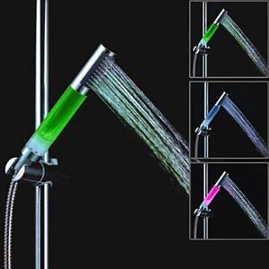 (Entrepôt UE) Un Grade ABS chromé colonne Changement de couleur LED Pommeau de douche à la main
