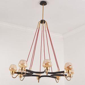 Lustre 8 lampes en verre D99cm pour salle cuisine
