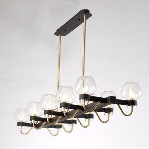 Lustre 10 lampes en verre L126cm pour salon cuisine