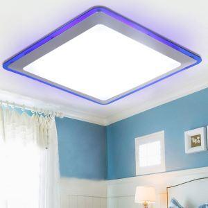 Plafonnier LED D28cm carré bordure bleu pour salle de bains couloir