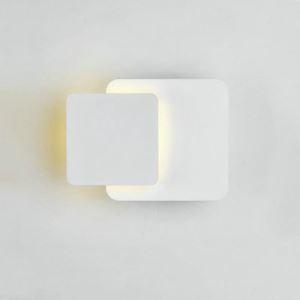 Applique murale LED en acrylique H15cm 2 carrés redoublés blanc pour chambre salle
