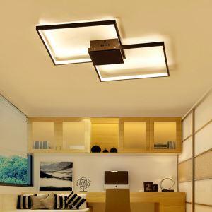 Plafonnier LED en acrylique L88cm 2 carrés redoublés noir pour chambre salon