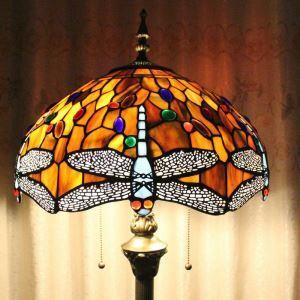 Lampadaire tiffany en verre H165cm en libellule gris pour salle