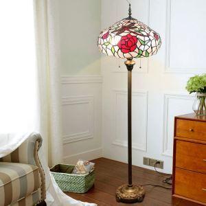 Lampadaire tiffany en verre H165cm en rose libellule rouge pour salle