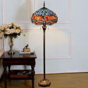 Lampadaire tiffany en verre H165cm libellule bleu pour salle