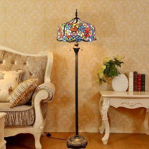 Lampadaire tiffany en verre H165cm petit fleur coloré pour salle