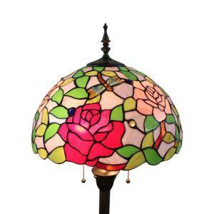 Lampadaire tiffany en verre H165cm rose rouge libellule coloré pour salle