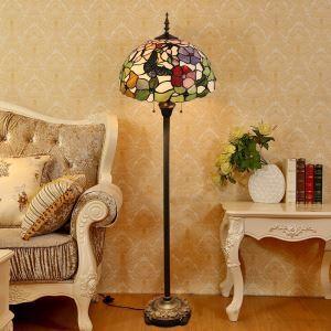Lampadaire tiffany en verre H165cm fpivoine papillon noir pour salle